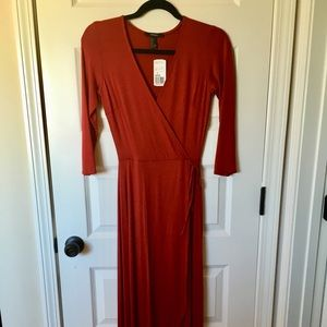 Spice maxi faux wrap dress. Never worn. Perfect.